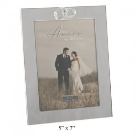 "Amore Silver Plated Frame with Crystal Rings / Plain 5"" x 7"""