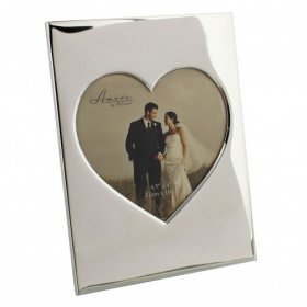 "Amore Shiny Silver Plated Photo Frame Heart Insert 4.5"" x 4"""