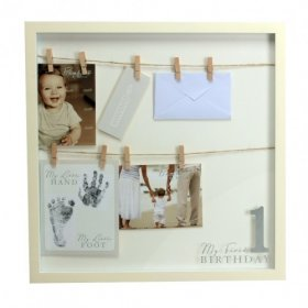 Bambino MDF Frame 'My First Birthday' My Tiny Hand & Foot