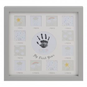 Baby 12 Month Keepsake Photo Frame With Hand Print and Ink