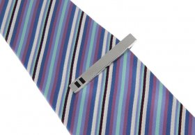 Tie Bar - Silver with Black Enamel Detail 50mm