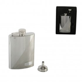 6oz 2 tone Hip Flask with rectangular plate