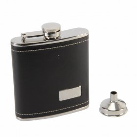 Hip Flask 6oz + Funnel - Black