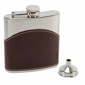 Hip Flask 6oz + Funnel Brown High Grade Leather