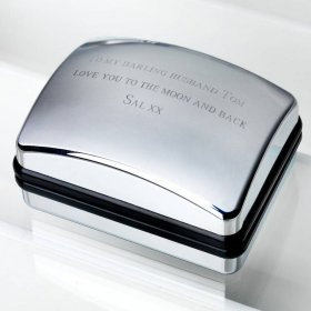 Personalised Deluxe Chrome Cufflink Box